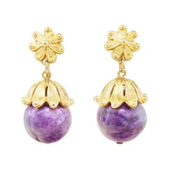 Vintage Gilt & Grape Purple Beaded Earrings by Crown Trifari, 1960s