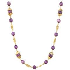 Vintage Gilt & Grape Purple Beaded Necklace by Crown Trifari, 1960s