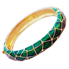 Vintage Gilt & Green Enamel Hinged Bangle Bracelet by Marcel Boucher, 1950s