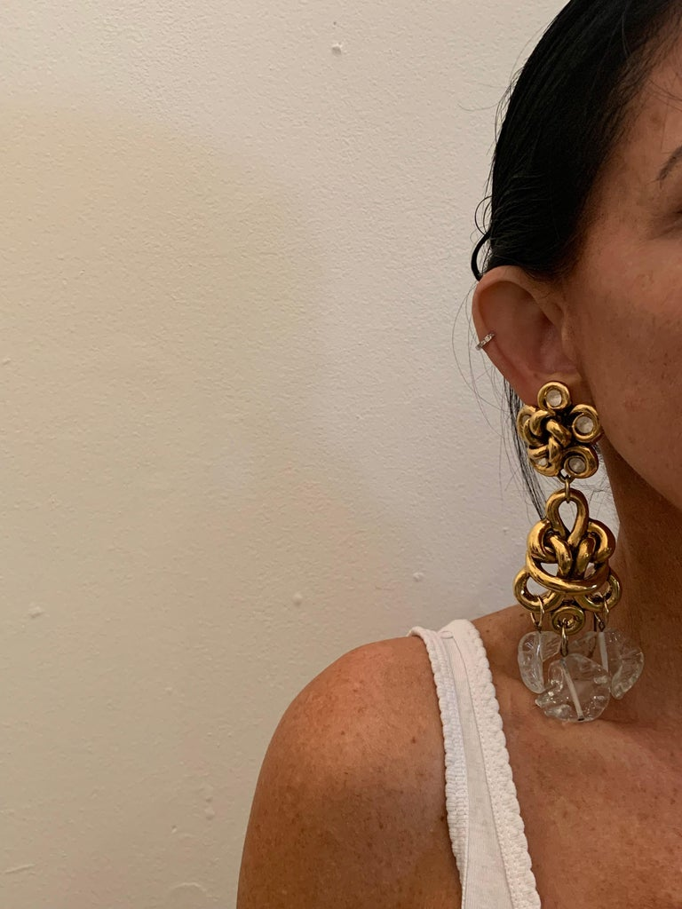 Baroque Vintage Gilt knotted French Statement Earrings  For Sale