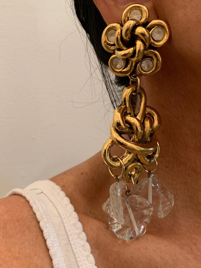 Vintage Gilt knotted French Statement Earrings  In Excellent Condition For Sale In Palm Springs, CA