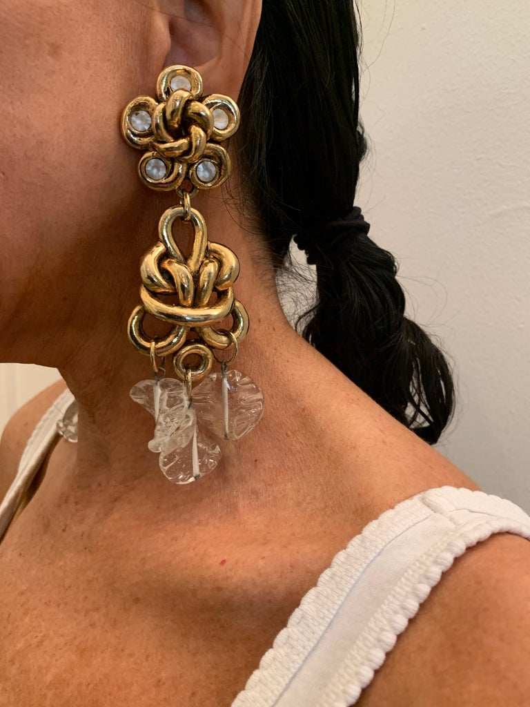 Women's Vintage Gilt knotted French Statement Earrings  For Sale