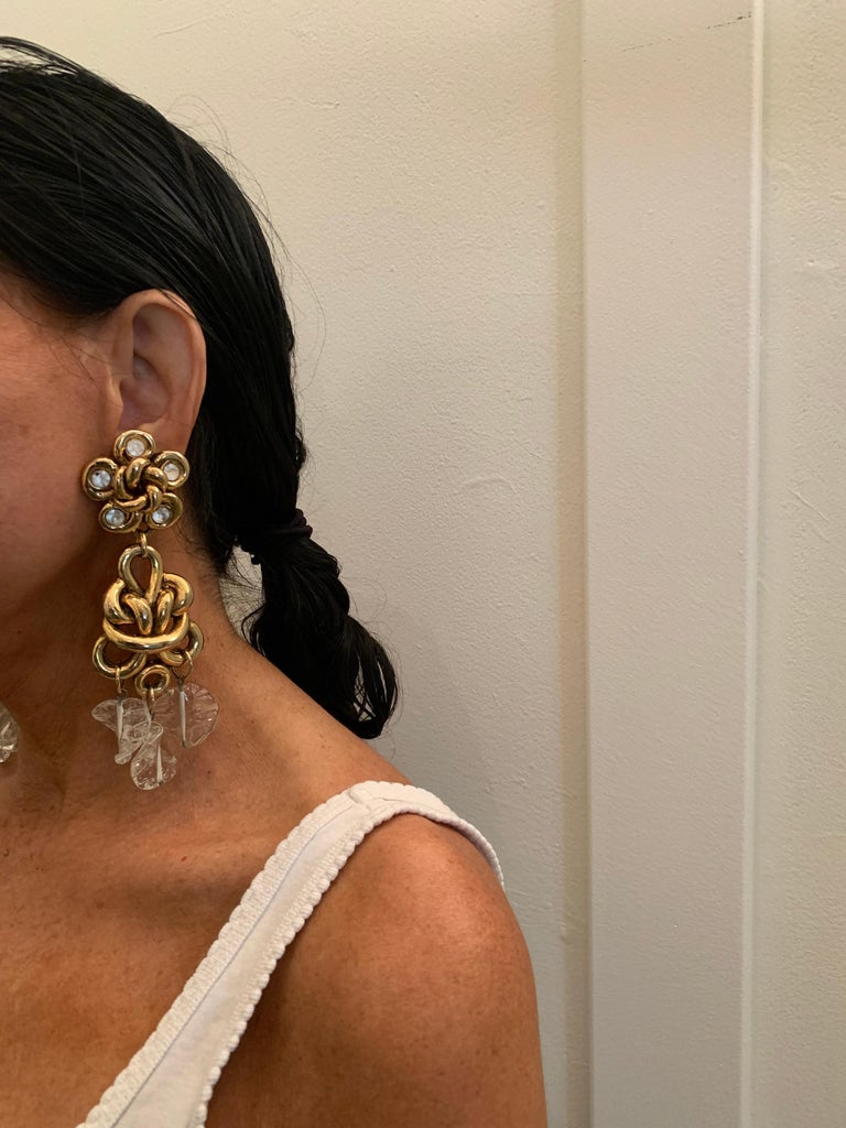 Vintage Gilt knotted French Statement Earrings  For Sale 1