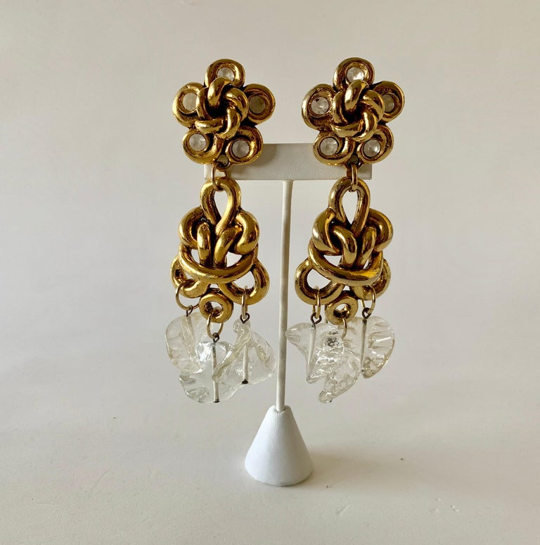 Vintage Gilt knotted French Statement Earrings  For Sale 2