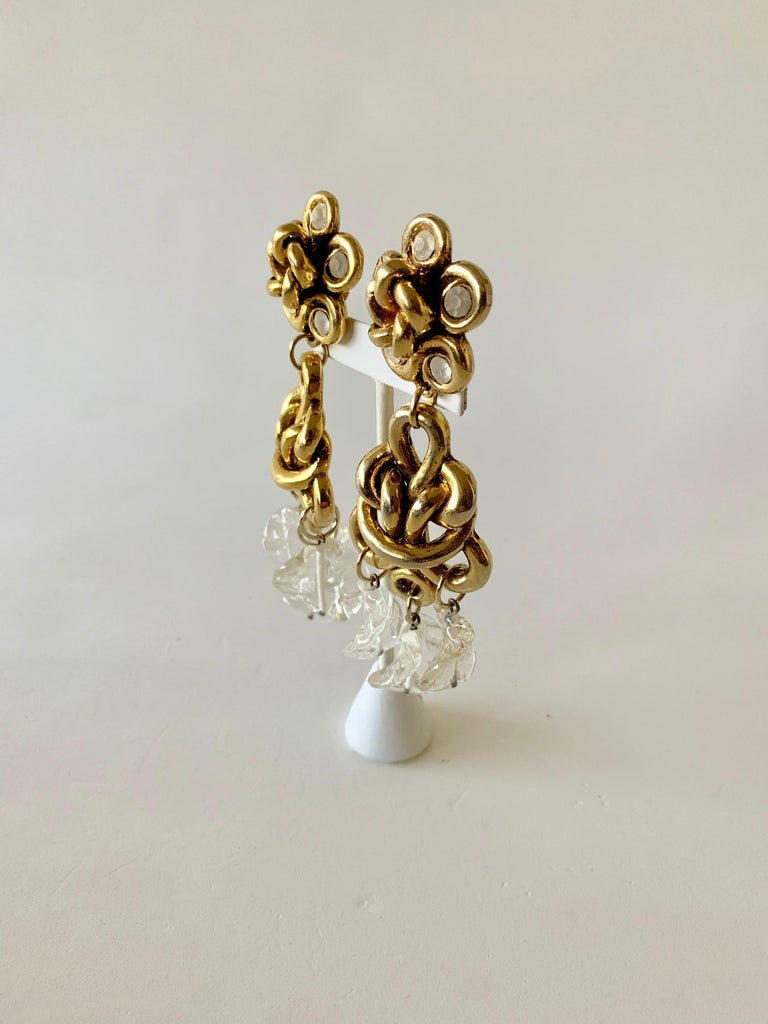 Vintage Gilt knotted French Statement Earrings  For Sale 3