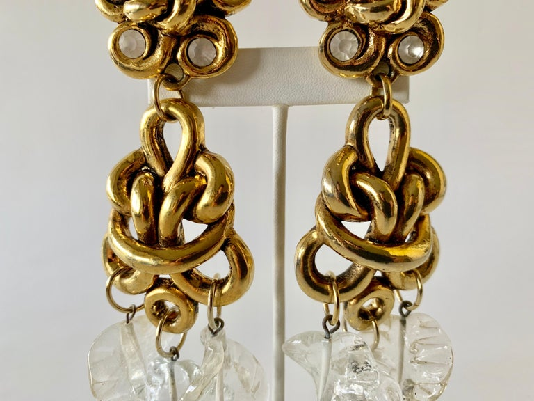 Vintage Gilt knotted French Statement Earrings  For Sale 4