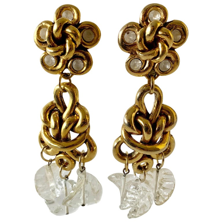 Vintage Gilt knotted French Statement Earrings  For Sale