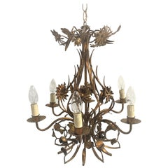 Vintage Gilt Metal Flower Chandelier, 1950s