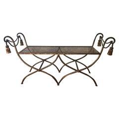 Vintage Gilt Metal Italian Bench