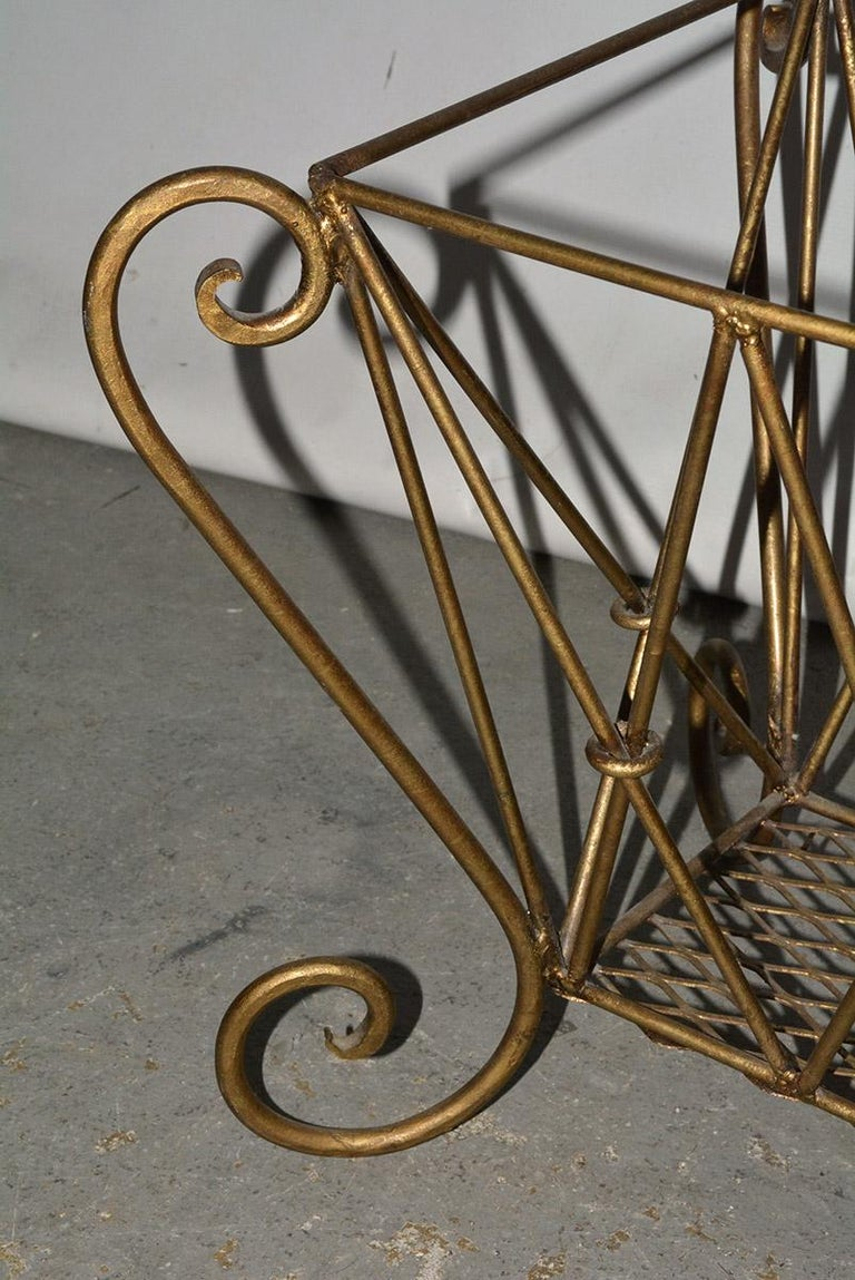 Vintage Gilt Metal Magazine Rack In Good Condition For Sale In Great Barrington, MA