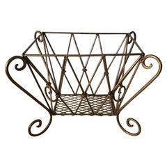 Vintage Gilt Metal Magazine Rack