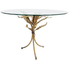 Vintage Gilt Metal Palm Leaf Side Table, Italy, 1960s