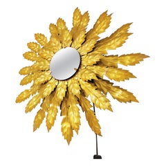 Vintage Gilt Metal Sunburst Mirror with Light, 1960s