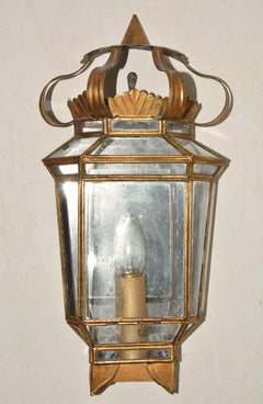 Vintage Gilt Mirrored Wall Light Lantern