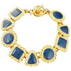 Vintage Gilt & Navy Enamel Geometric Shapes Bracelet by Anne Klein, 1980s