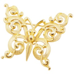 Vintage Gilt Ornate Butterfly Figural Brooch by Crown Trifari, 1960s