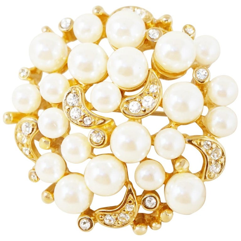Vintage Gilt Pearl Cluster Brooch with Crystal Rhinestones by Erwin Pearl, 1980s For Sale