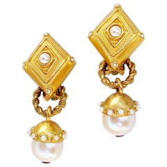 Vintage Gilt & Pearl Dangle Statement Convertible Earrings By Leslie Block, 1980
