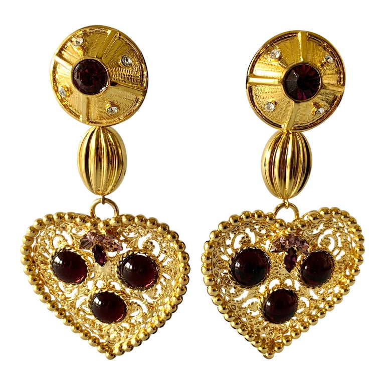 "Vintage Gilt Purple ""pate de verre"" Heart Statement Earrings  For Sale"