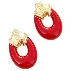Vintage Gilt & Red Enamel Oversized Door Knocker Earrings by Ciner, 1980s