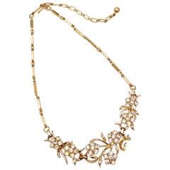 Vintage Gilt & Rhinestone Floral Bib Choker Necklace By Coro, 1950s