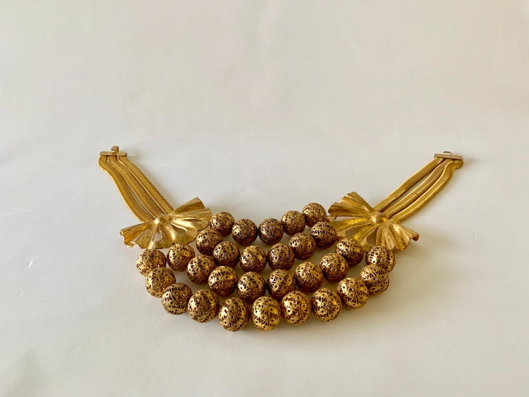 Vintage Gilt Rochas Paris Statement Necklace  For Sale 9