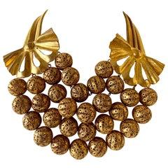 Vintage Gilt Rochas Paris Statement Necklace
