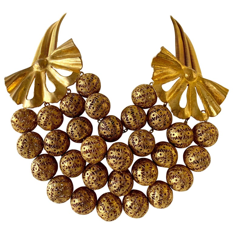 Vintage Gilt Rochas Paris Statement Necklace  For Sale