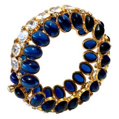 Vintage Gilt Textured Sapphire Diamanté Statement Bracelet