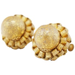 Vintage Gilt Textured Sphere Earrings by Miriam Haskell, 1950s