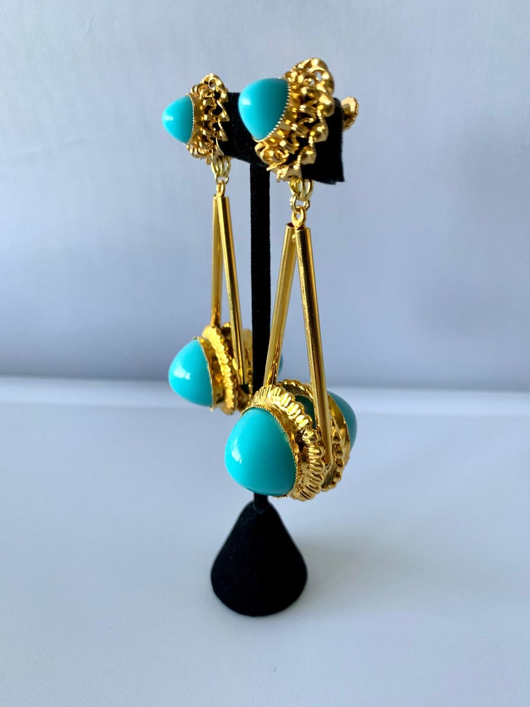 Modern Vintage Gilt Turquoise Chandelier Statement Earrings  For Sale