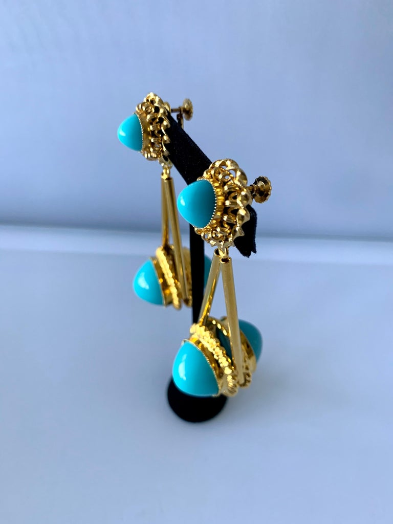 Bead Vintage Gilt Turquoise Chandelier Statement Earrings  For Sale