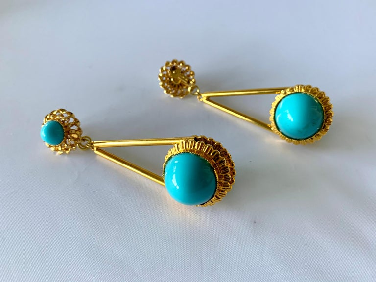 Women's Vintage Gilt Turquoise Chandelier Statement Earrings  For Sale