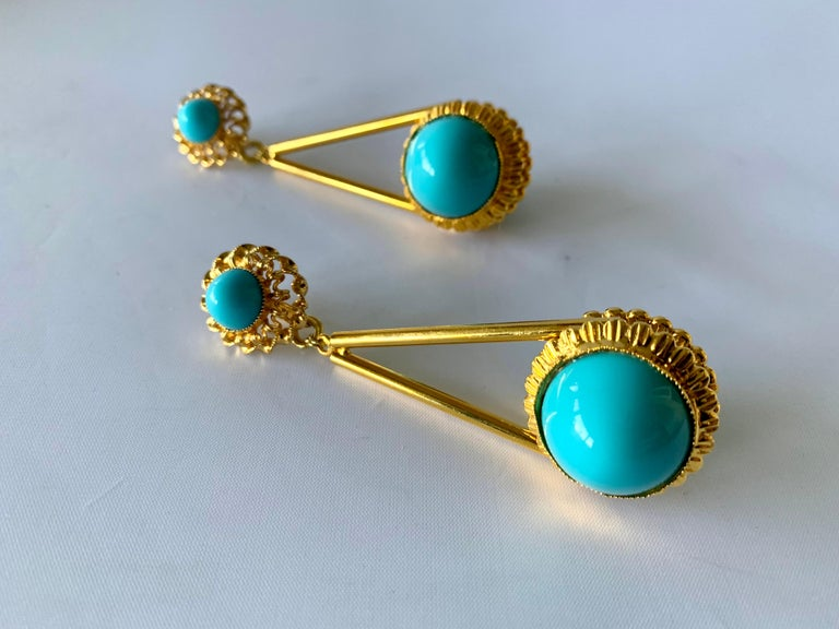 Vintage Gilt Turquoise Chandelier Statement Earrings  For Sale 1
