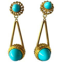Vintage Gilt Turquoise Chandelier Statement Earrings