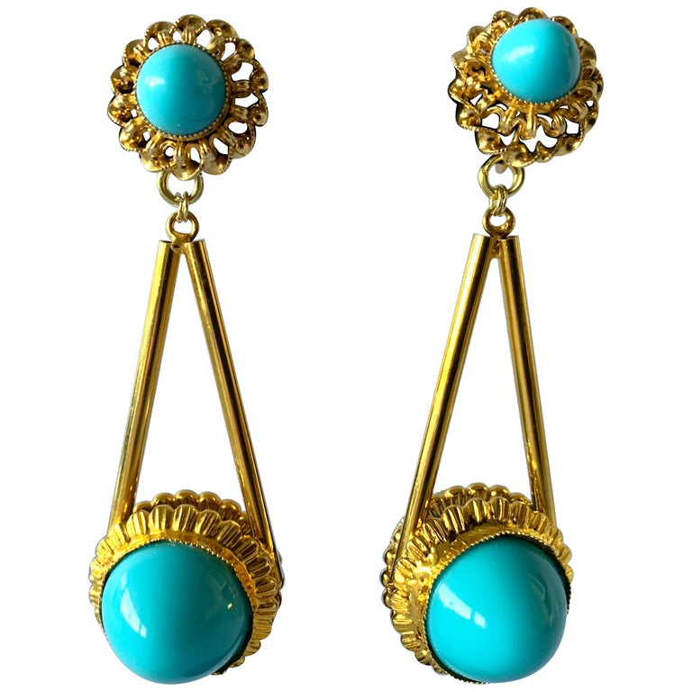 Vintage Gilt Turquoise Chandelier Statement Earrings  For Sale