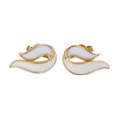 Vintage Gilt & White Enamel Abstract Ribbon Earrings By Crown Trifari, 1960s