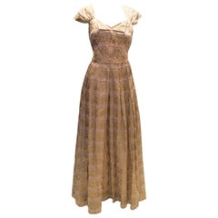 Vintage Gina Couture Pink and Gold Gown