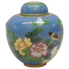 Vintage Ginger Jar Shaped Cloisonné Vase with Lid