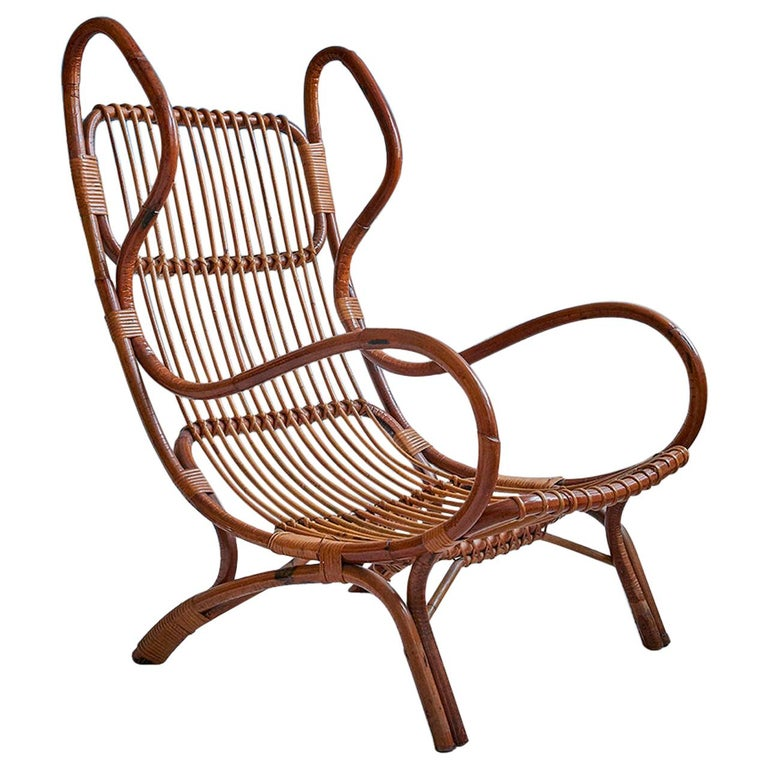 Vintage Gio Ponti 'BP 16' Continuum Armchair in Bamboo, Italy, 1963 For Sale