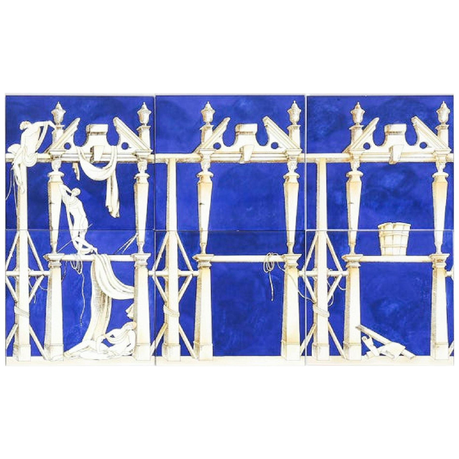 Vintage Gio Ponti for Ceramica Bardelli Casa dell'Efebo Porcelain Tile Set of 6