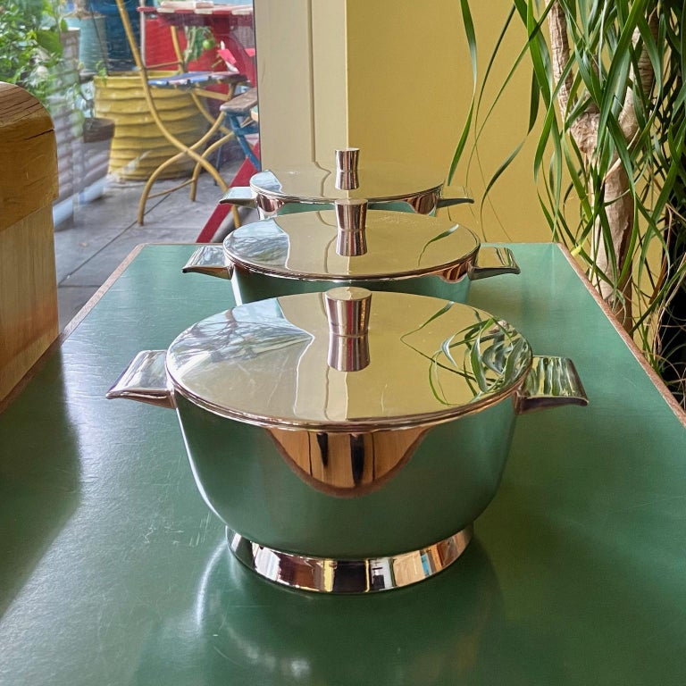 Metal Vintage Gio Ponti Silver Plated Soup Tureens for Krupp, Italian, Midcentury For Sale