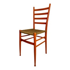 Vintage Gio Ponti Style Orange Chair, Made in Italy