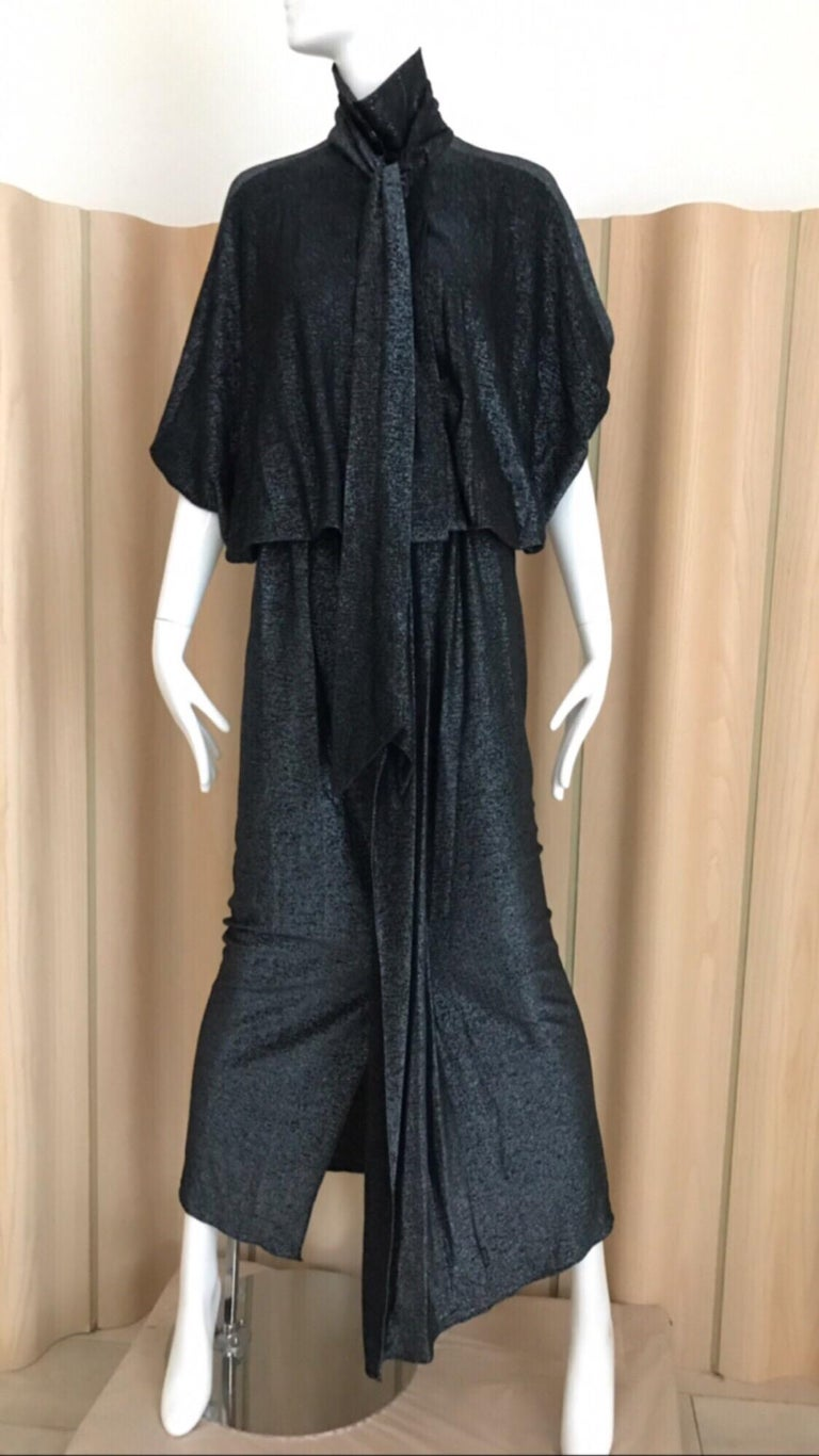 Vintage Giorgio di Sant Angelo Black Knit jersey Dress For Sale 9