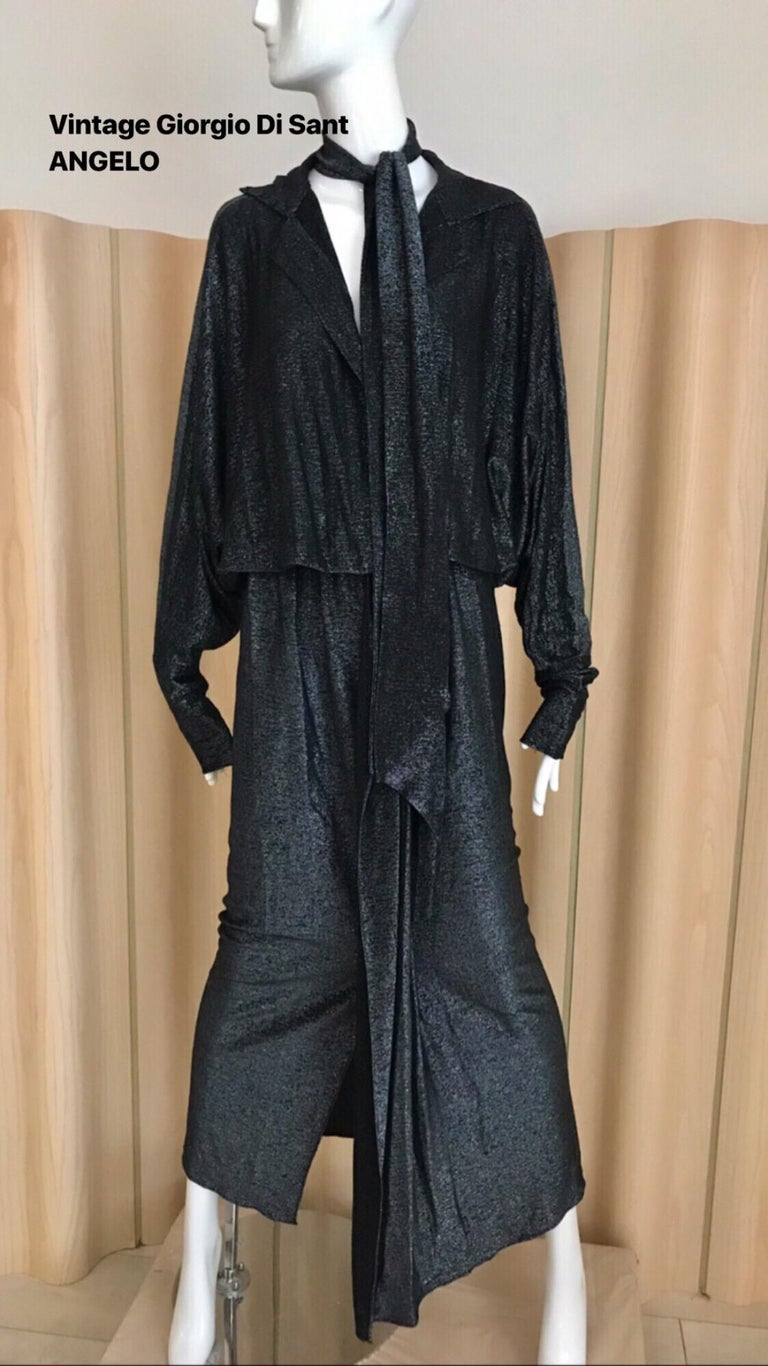 Vintage Giorgio di Sant Angelo Black Knit jersey Dress For Sale 10