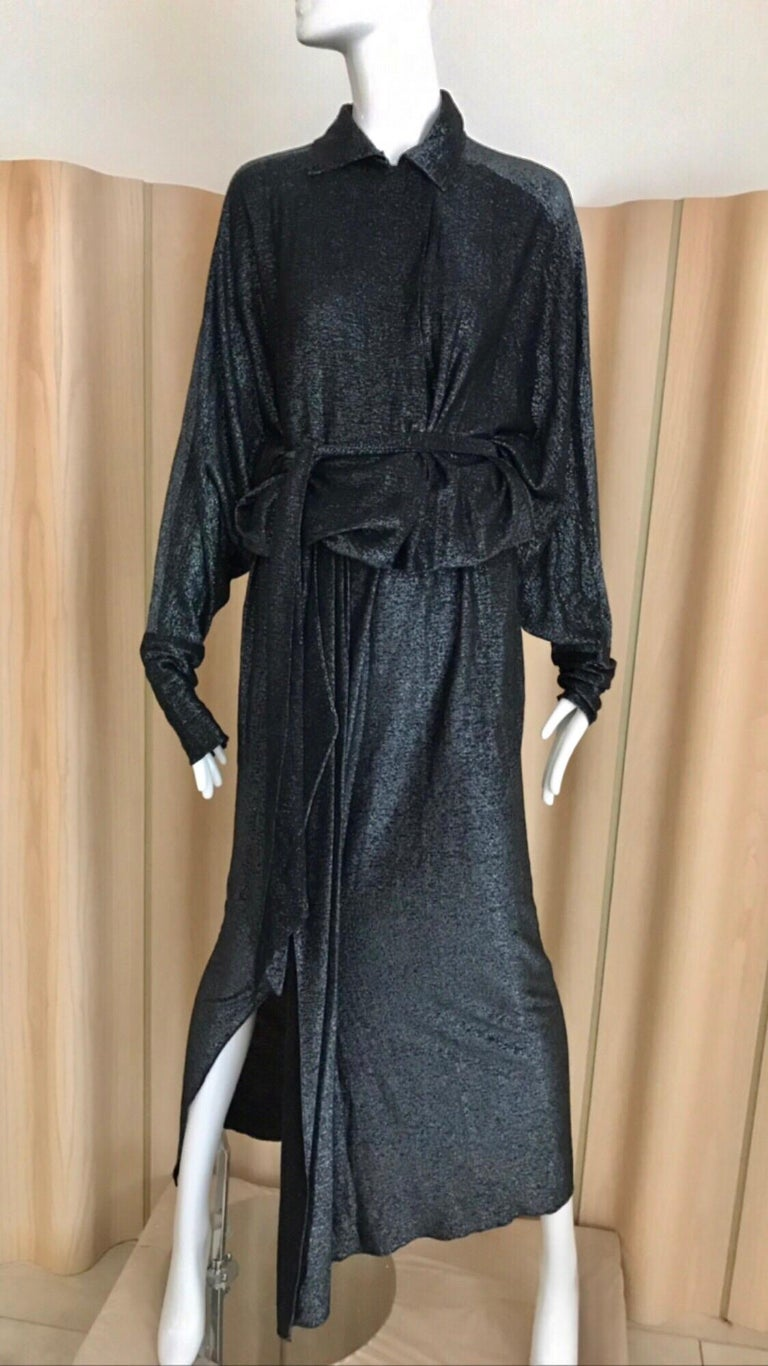Vintage Giorgio di Sant Angelo Black Knit jersey Dress For Sale 13
