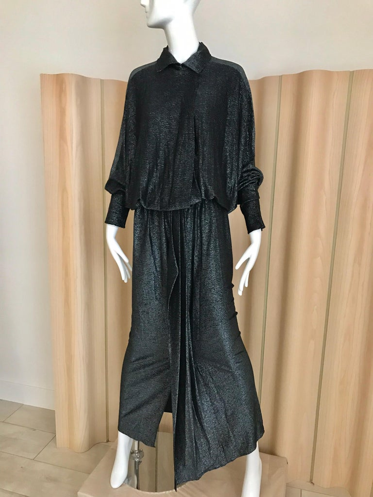 Vintage Giorgio di Sant Angelo Black Knit jersey Dress In Good Condition For Sale In Beverly Hills, CA