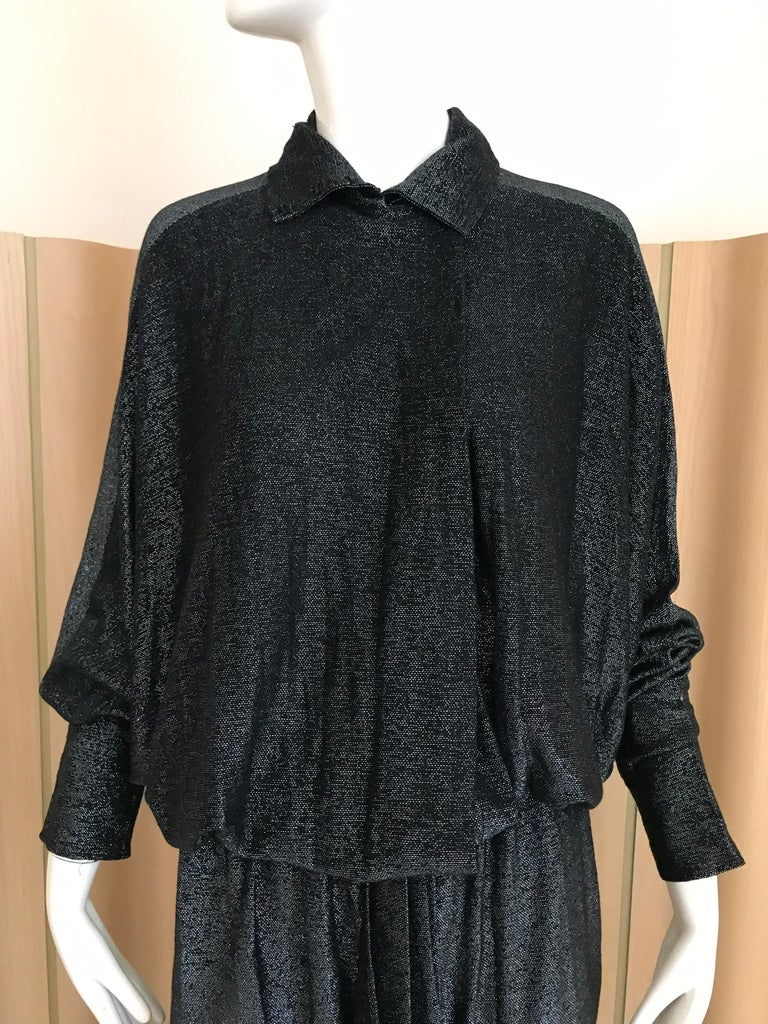 Women's Vintage Giorgio di Sant Angelo Black Knit jersey Dress For Sale