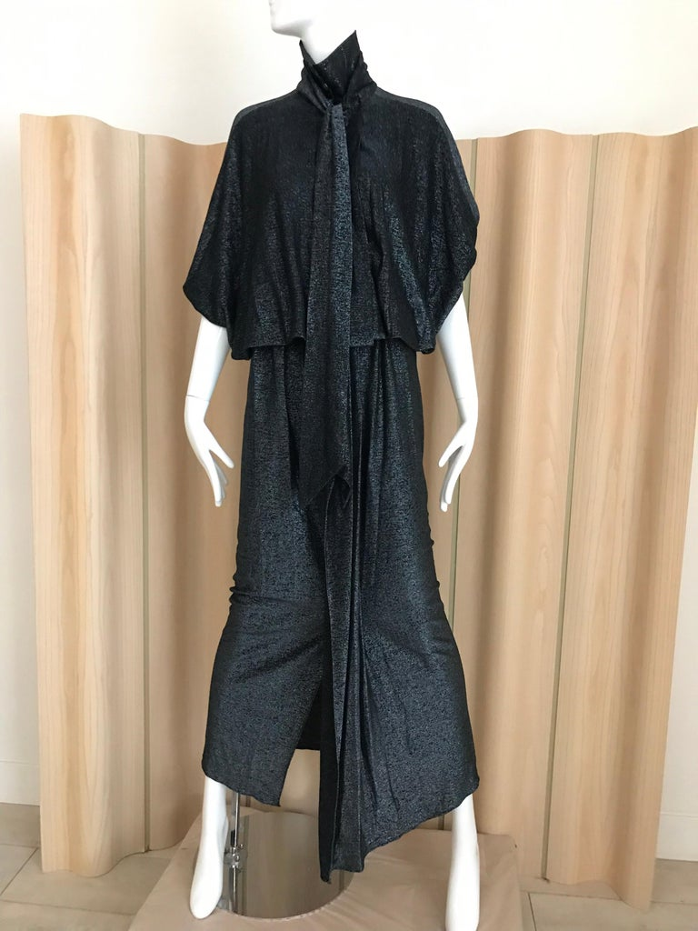 Vintage Giorgio di Sant Angelo Black Knit jersey Dress For Sale 3