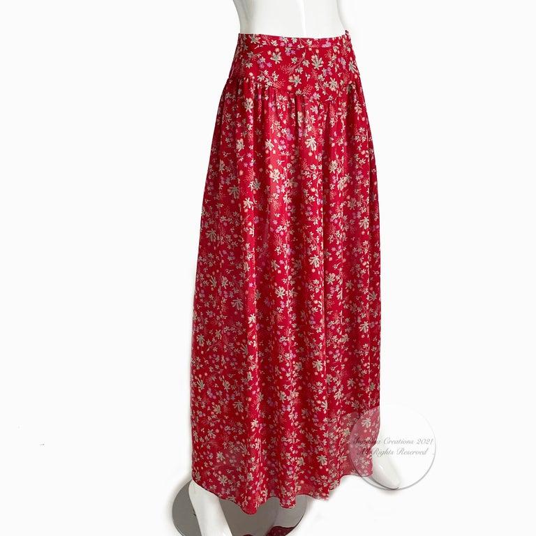 Vintage Giorgio Sant Angelo Blouse & Palazzo Pant Suit 2pc Floral Print Size 8  For Sale 5